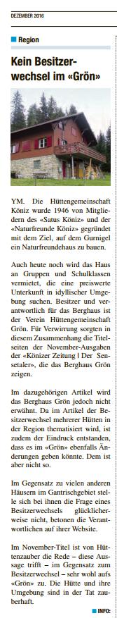 Artikel in der Könizer Zeitung bzw. Sensetaler im Dezember 2016